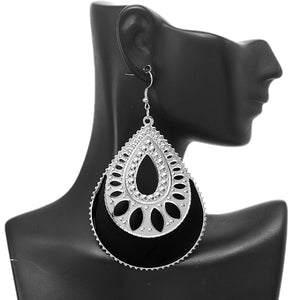 Black Open Teardrop Earrings