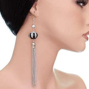 Black Multi Chain Drop Earrings