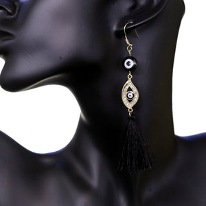 Black Evil Eye Beaded Tassel Drop Earrings