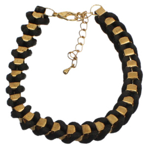 Black Fabric Twisted Metal Clasp Bracelet