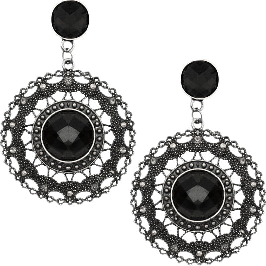Black faceted earrings date night