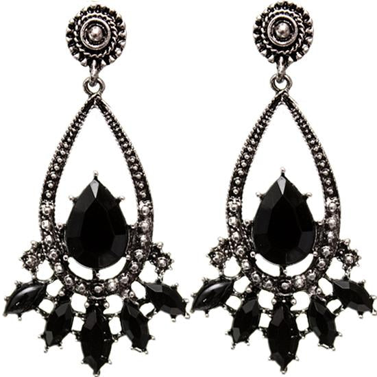Black Faceted Earrings