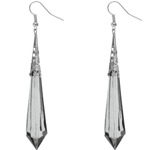 Black Faux Crystal Pointy Earrings