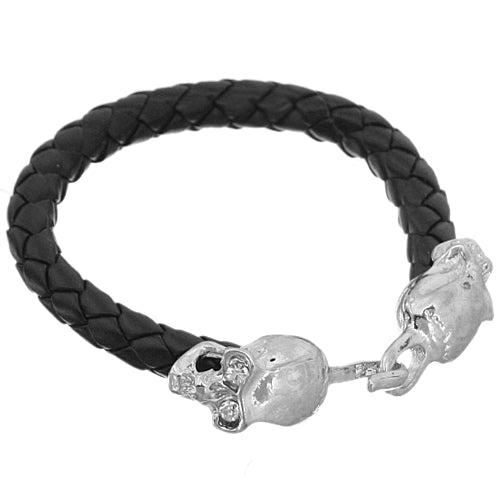 Black Faux Leather Skull Latch Bracelet