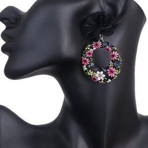 Black Floral Fabric Drop Hoop Earrings