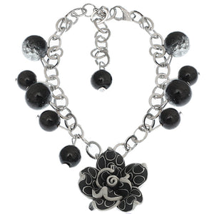 Black Glass Ball Flower Charm Chain Bracelet