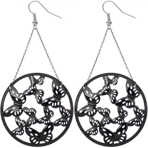 Black Gigantic Butterfly Chain Earrings
