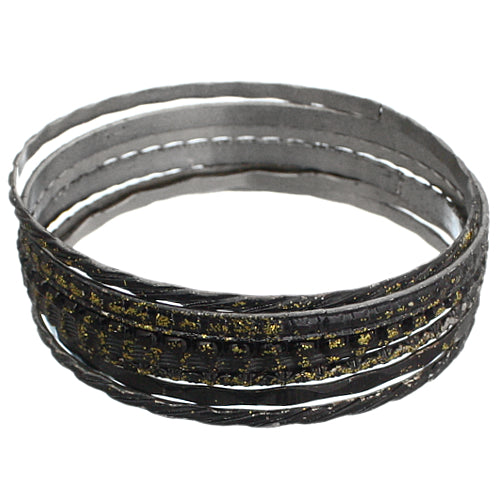 Black 7-Piece Glitter Stacked Bracelets