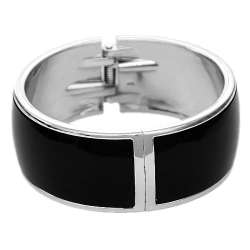 Black Lightweight Hinged Bracelet