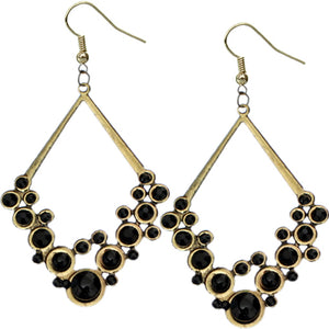 Black Gold Beaded Open Triangle Rhinestone Earrings