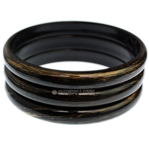 Black 3-Piece Gold Brush Stacked Bracelets