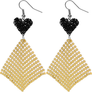 Black Gold Heart Mesh Dangle Earrings