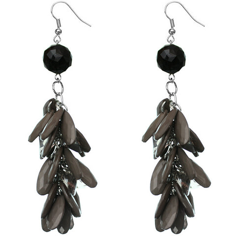 Black Gray Faceted Beaded Oval Dangle Earrings