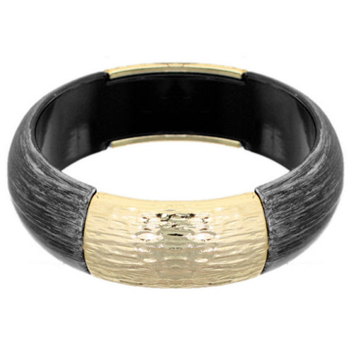 Black Hammered Resin Bangle Bracelet