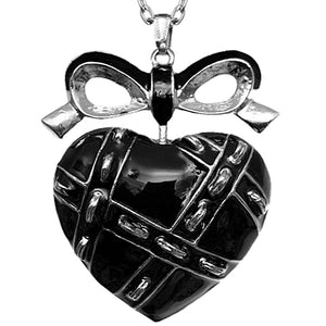 Black Heart Bow Charm Necklace