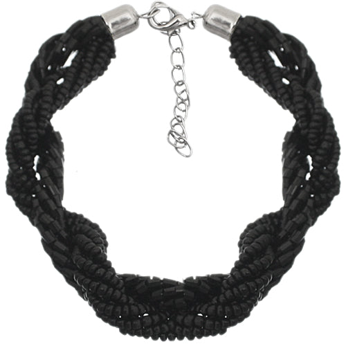 Black Twist Intertwined Sequin Beaded Bracelet