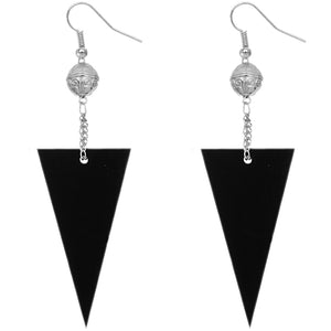 Black Inverted Triangle Drop Chain Dangle Earrings