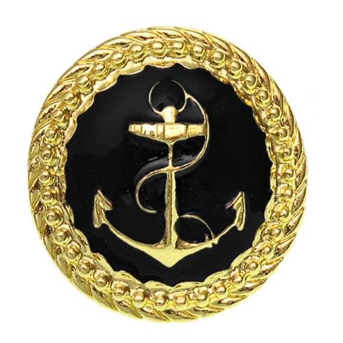 Black Large Anchor Adjustable Statement Ring