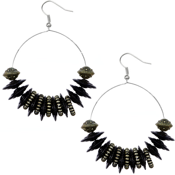 Black Large Disk Hoop Earrings