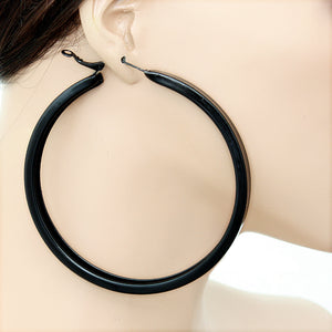 Black Large Metal Hoop Earrings