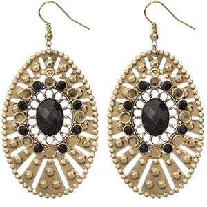 Black Large Round Studded Dangle Earrings