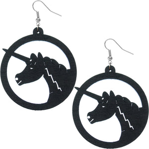 Black Wooden Large Unicorn Hoop Earrings