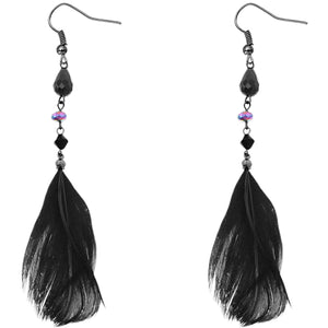 Black Beaded Feather Earrings