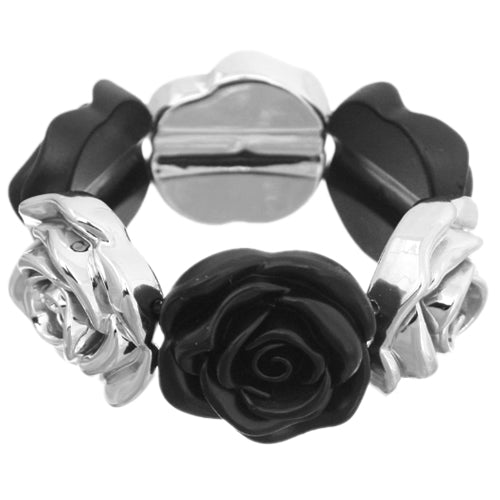 Black Floral Stretch Bracelet