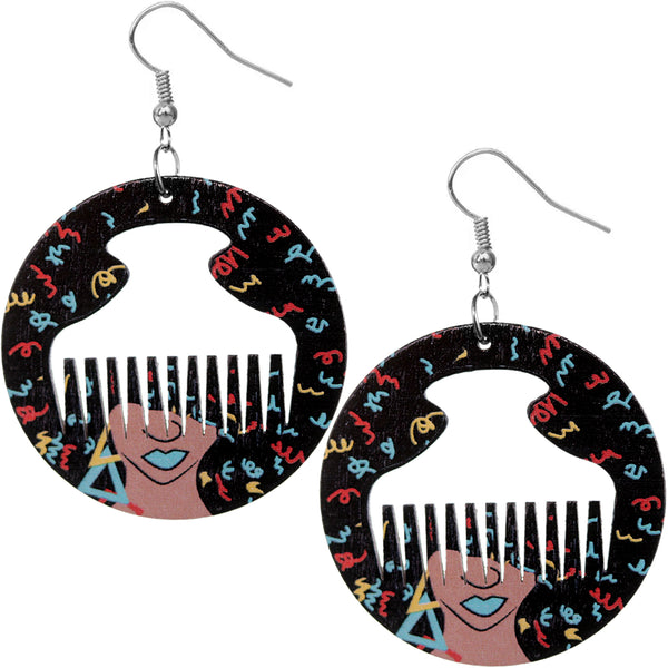 Black Multicolor Centered Afro Pick Dangle Earrings