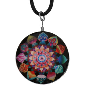 Black Multicolor Kaleidoscope Nylon Charm Necklace