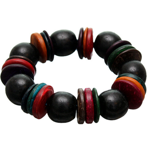 Black Multicolor Wooden Bead Stretch Bracelet