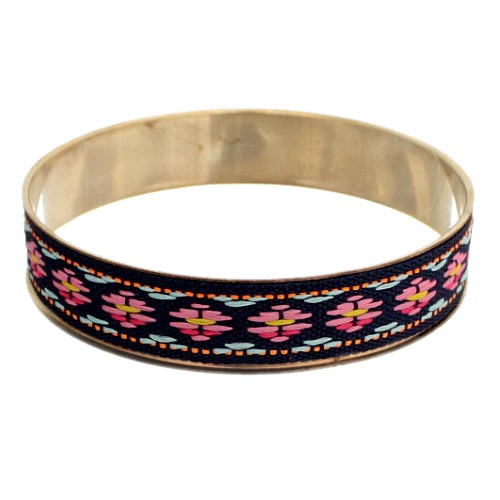 Pink Multicolor Boho Knit Bangle Bracelet