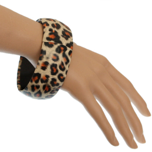 Black Orange Cheetah Print Bangle Bracelet