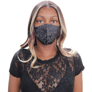 Black Paisley Face Mask