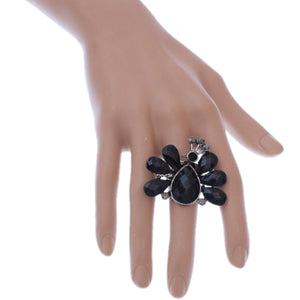 Black Large Beaded Peacock Adjustable Ring