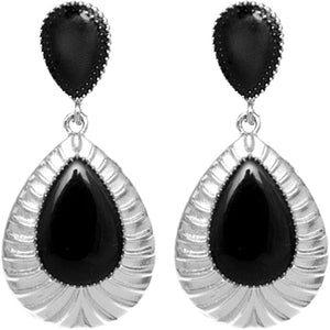 Black Pear Shaped Post Earrings