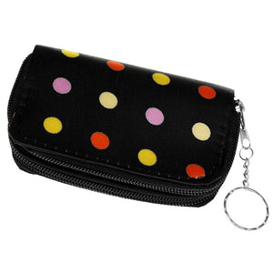 Black Polka Dot Double Pocket Key Chain Wallet