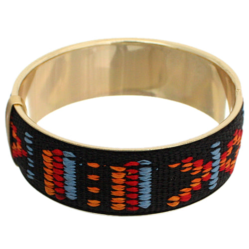 Black Multicolor Boho Knit Bangle Bracelet