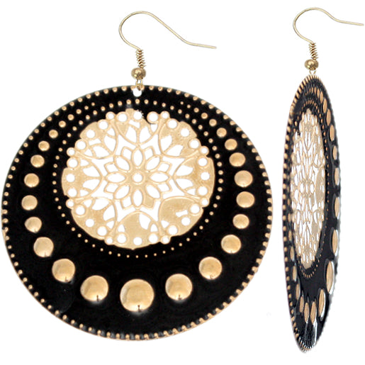 Black Centered Floral Filigree Dangle Earrings