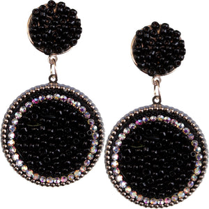 Black Seed Bead Round Flat Disc Earrings