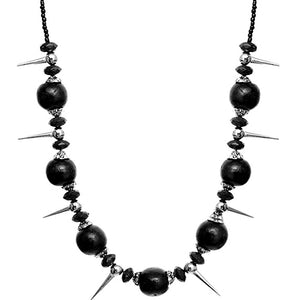 Black Wooden Sequin Spike Necklace Set