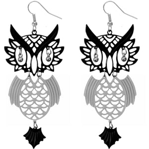 Black Silver Tone Beaded Eyes Owl Earrings