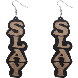 Black Slay Wooden Letter Earrings