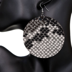 Black Spotted Wooden Round Earrings