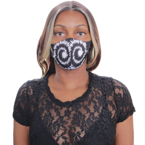 Black Swirl Pattern Face Mask