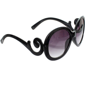 Black Designer Inspired Round Swirl Sunglasses