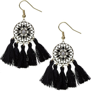 Black Tassel Fringe Drop Earrings