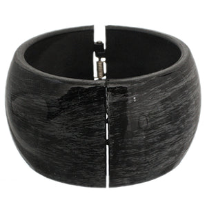 Black Glossy Textured Hinged Bracelet