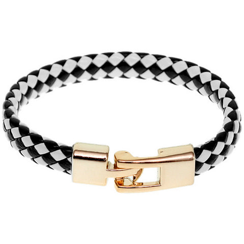 Black White Braided Woven Leather Latch Bracelet
