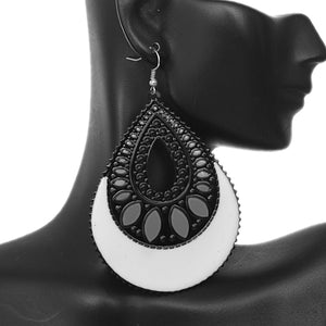 White Black Open Teardrop Earrings